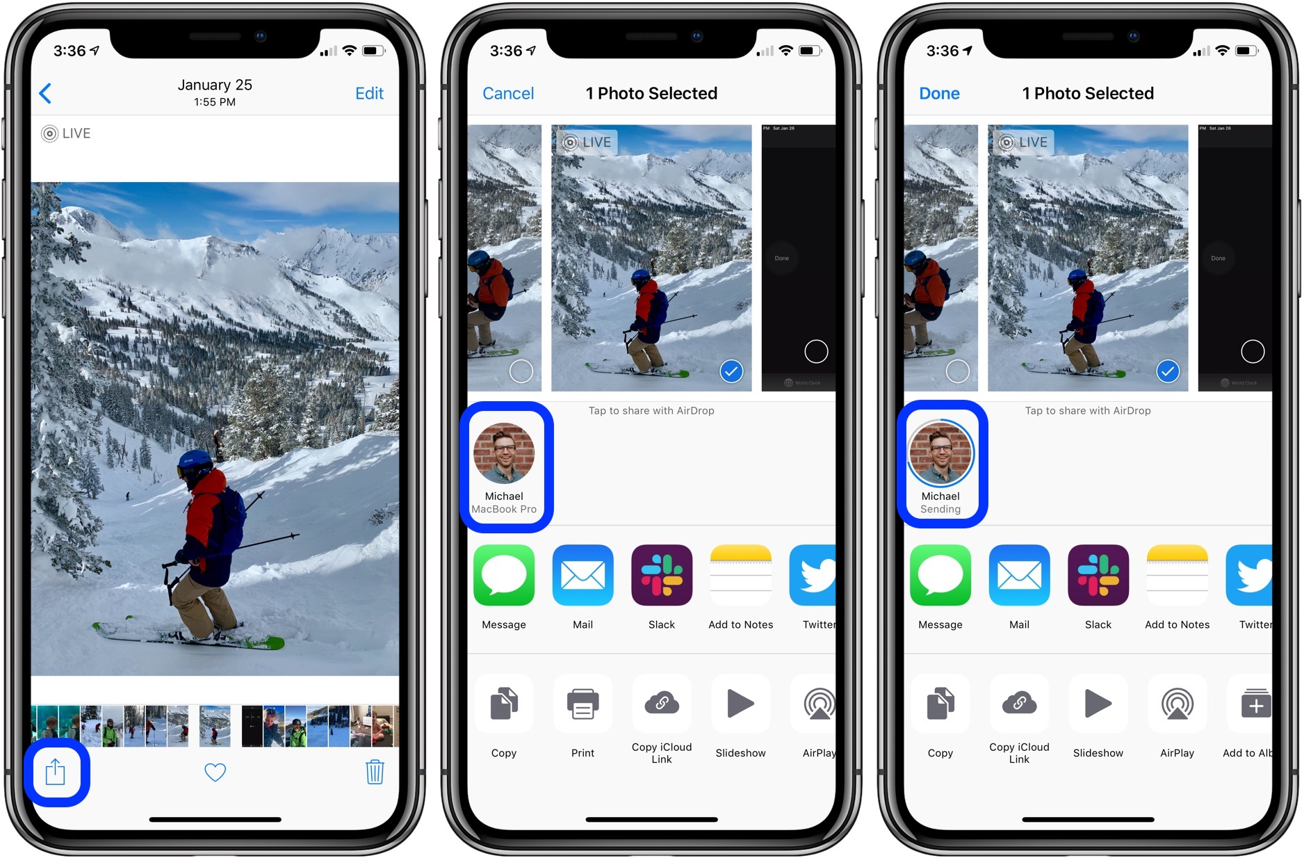 How can i airdrop photos from iphone to mac